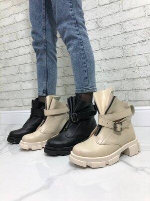 Демисезонные ботинки, натуральная кожа, чёрные и беж, 36-41