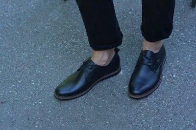 Туфли натуральная кожа черные без каблука