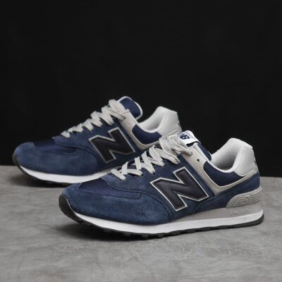 Кроссовки мужские New Balance 574, синие, замш/текстиль