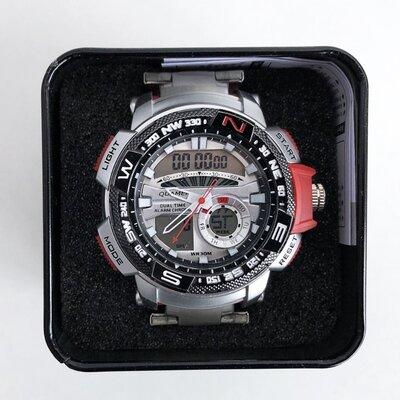 Продано: Часы наручные QUAMER в коробке, браслет карбон, dual time, waterproof с красными вставками