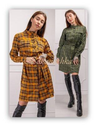 46,48, Жіноча сукня-сорочка в клітинку. Женское платье рубашка в клетку с поясом. трикотажное платье