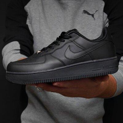 Кроссовки мужские Nike Air Force, черные, кожа