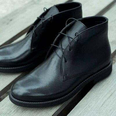 Мужские качественные шикарные классические ботинки демисезонные осенние весенние зимние на байке мех