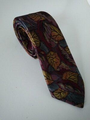Шикарный фирменный галстук краватка в осенних листьях шелк лен Paolo Vincente Англия