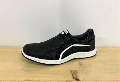 Туфли мокасины мужские черные Ср-2-1