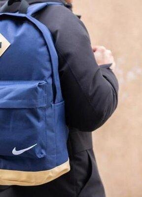 Рюкзак кожаное дно сине-жёлтого цвета