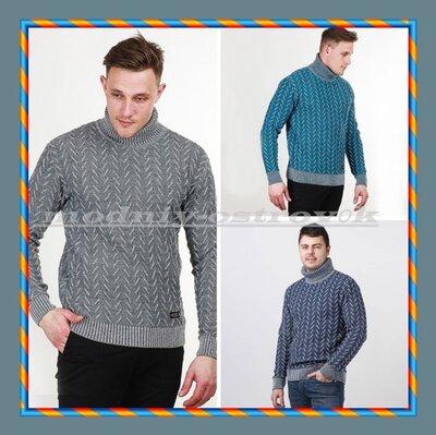 Теплий чоловічий светр з малюнком ялинка. Теплый мужской свитер гольф