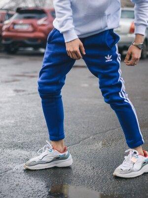 Спортивные штаны в стиле Adidas Threе line синие