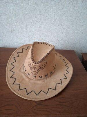 Шляпа ковбой искусственная замша новая