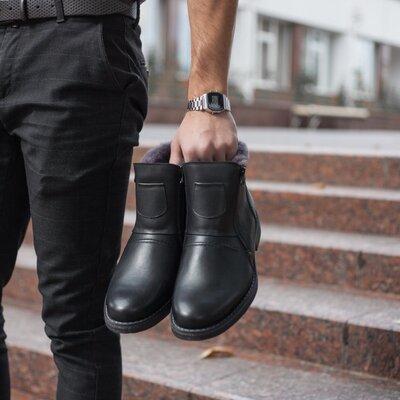 Зимние кожаные мужские ботинки krisbut польша