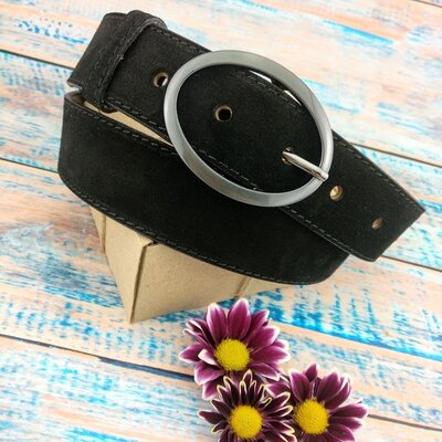 Женский замшевый ремень JK-4040 black