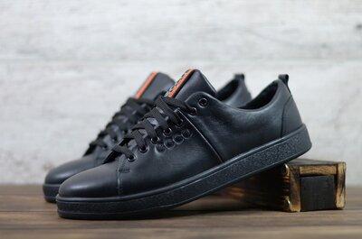 Мужские кожаные кеды Черные К102 ч.т. Ecco