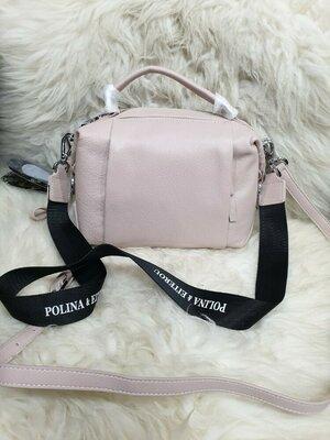 жіноча шкіряна сумка Polina & Eiterou пудра черная красная сумка. кожаная кроссбоди polina eiterou