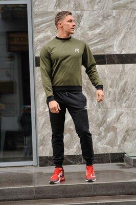 Мужской спортивный костюм Reebok Рибок , оливковый свитшот хаки и черные штаны весна-осень репли