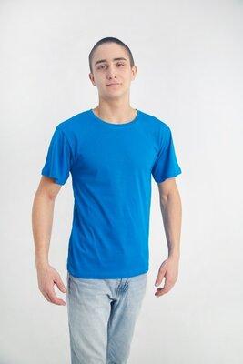 Футболка мужская голубого цвета хлопок 100% плотность 160 г на кв м