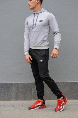 Мужской спортивный костюм New Balance Нью Бэлэнс серая худи и черные штаны весна-осень