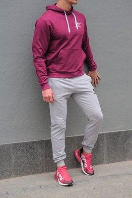 Мужской спортивный костюм Adidas Адидас , бордовая худи и серые штаны весна-осень