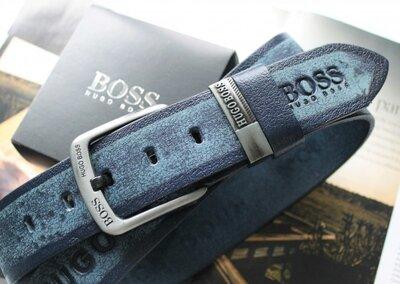 Мужской кожаный ремень для джинсов Hugo Boss синий