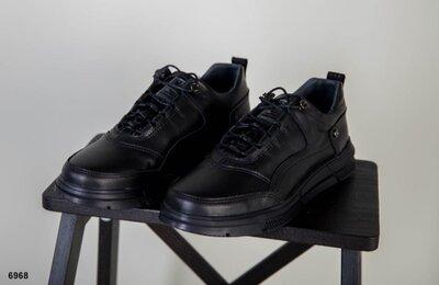 Стильные мужские кожаные кроссовки спортивные туфли кроссы черные весенние осенние демисезонные
