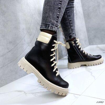 Натуральные кожаные женские ботинки, ботинки кожа, ботинки на бежевой подошве 36-39,41р код 13667