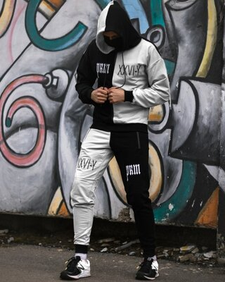 Весенний спортивный костюм Sad & Smile Черно-Белый
