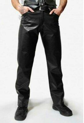 Стильные мужские кожаные брюки штаны джинсы натуральная кожа sz XL 52