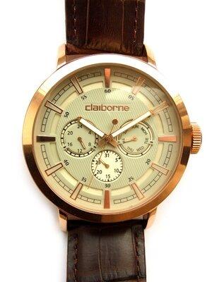 Claiborne мужские часы из Сша 4 циферблата кожа WR30M мех. Japan
