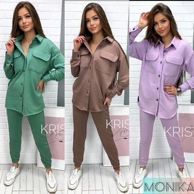 Продано: Стильный женский костюм двойка верх кофта рубашка низ облегающие штаны на манжете 5 цветов