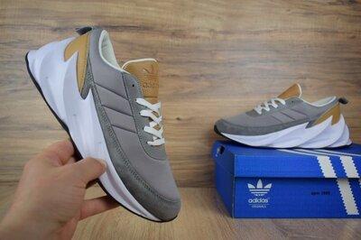 Мужские кроссовки Adidas Sharks серые с коричневым скидка 45 размер sale