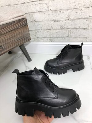 Демисезонные ботинки на модной подошве, натуральная кожа, 36-41