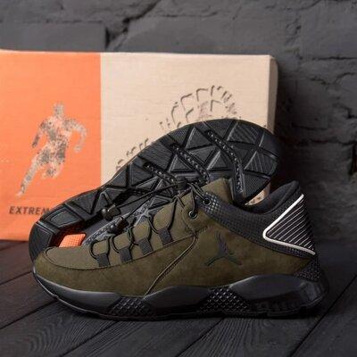 Чоловічі шкіряні кросівки Jordan Olive Код сид оливка