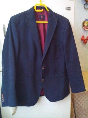 Carl gross темно синий коттоновый пиджак cg