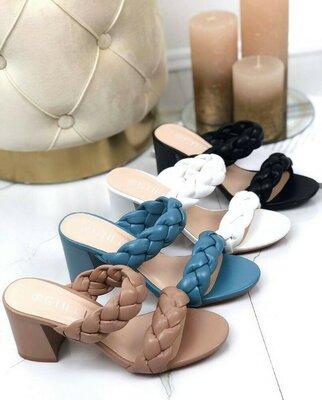 Продано: Хит, стильные шлепки плетение коса на широком каблуке голубые белые черные коричневые