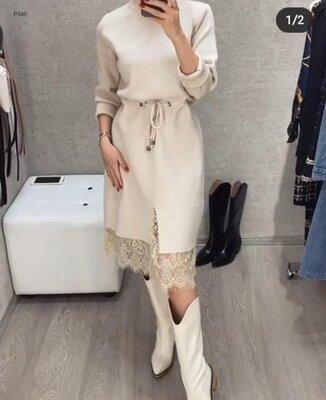 Женское платье с кружевом под шею длинный рукав 40-70 разм