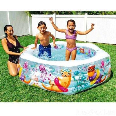 Детский надувной бассейн Intex 56493 Океанский Риф, надувное дно, 191х178х61см