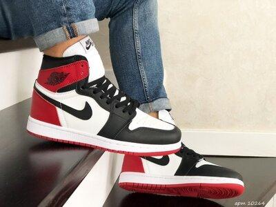 Nike Air Jordan кроссовки мужские демисезонные черные с белым и красным 10264