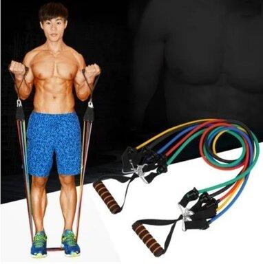 Продано: Набор трубчатых эспандеров для фитнеса 5 штук / Многофункциональный комплект Чехол