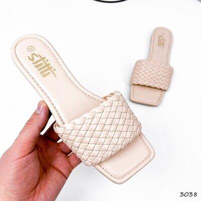 Бежевые шлепанцы с квадратным носком, бежевые шлепки, шлепанцы Liana 36-39р код 3038