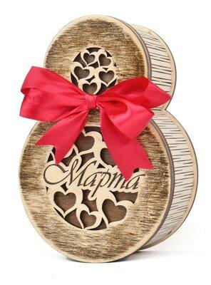 Подарок на 8 марта шкатулка для украшений цветов конфет из натурального дерева с бантом