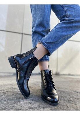Супер цена 1457 грн Женские лаковые демисезонные ботинки о шнурком и молнией