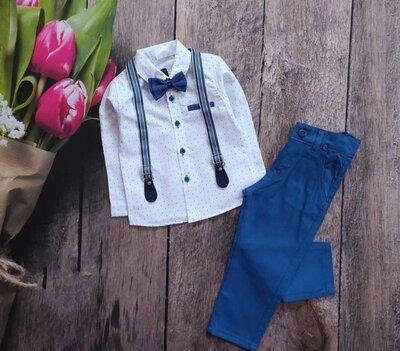Нарядний костюм для хлопчика рубашка,підтяжки,бабочка,штани.Комплект,рубашка,подтяжки,бабочка, штаны