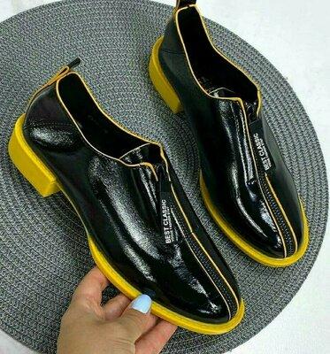 Туфли женские с жёлтой подошвой
