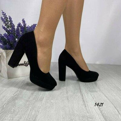 Замшевые туфли на удобном каблуке