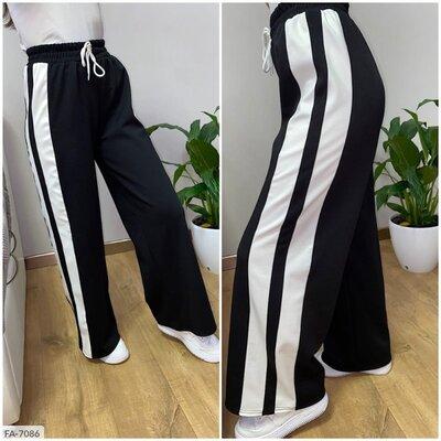 Широкие спортивные штаны, серый и черный цвет. 42-52р