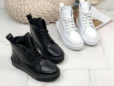 Продано: Черные и белые кожаные спортивные ботинки кеды