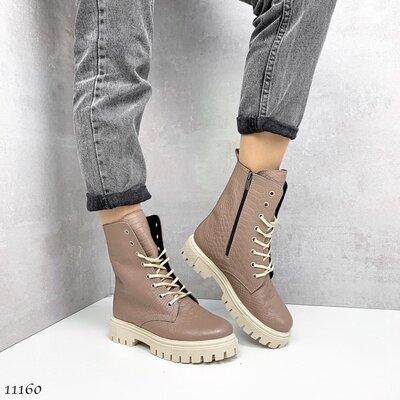 Женские натуральные кожаные чёрные бежевые демисезонные ботинки на шнуровке на низком ходу