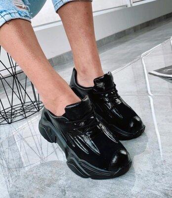 Кроссовки черные женские на платформе модная подошва крутая модель