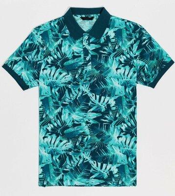 Мужское поло синее LC Waikiki / Лс Вайкики с бирюзовым лиственным принтом