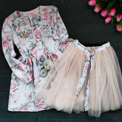Продано: Очень нежный и красивый наборчик платье с фатиновой повязкой ткань костюмка , спереди застегивается