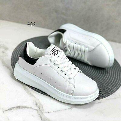 Кеды кроссовки белые с черным задником